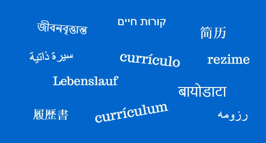 המילה קורות חיים בשפות השונות